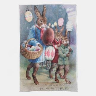 Antique Easter Bunny Parade Post Card Egg Lanterns Towel