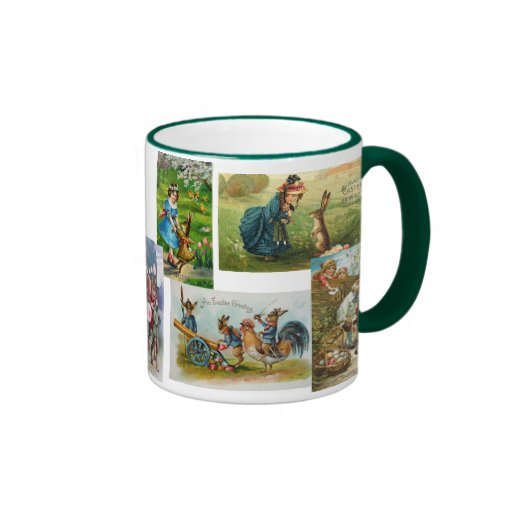 Antique Easter Bunny Post Cards Mug Collage