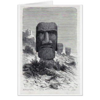 Antique Easter Island etching Card