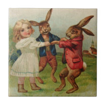 Antique Easter Play Ring Around Rosy Tile