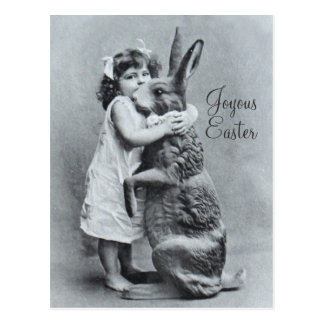 Antique Easter Post Card Giant Rabbit Girl Candy