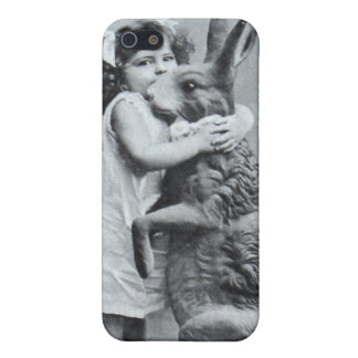 Antique Easter Post Card Girl Love Bunny iPhone SE/5/5s Cover