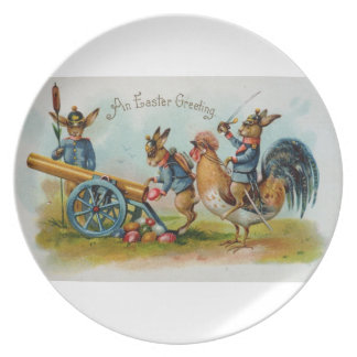 Antique Easter Post Card Military Bunnies Dinner Plate