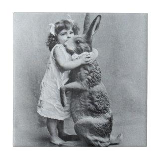 Antique Easter Post Card Victorian Girl Bunny Tile