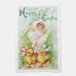 Antique Easter Post Card Victorian Girl Towel