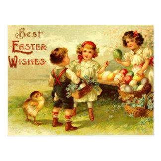 Antique Easter Postcard Children Chicks Nostalgic