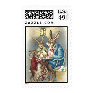 Antique Easter Rabbit Artist Paints Eggs Stamps