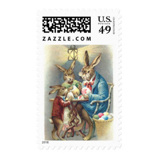 Antique Easter Rabbit Artist Paints Eggs Postage Stamp