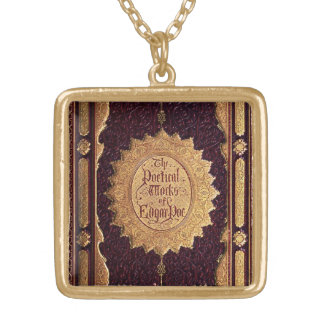 Antique Edgar Allan Poe Book Gold Plated Necklace