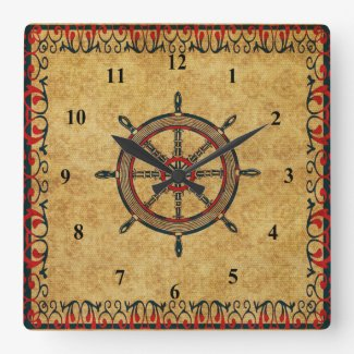 Antique Effect Ships Wheel Nautical Decorative Square Wall Clocks