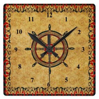 Antique Effect Ships Wheel Nautical Decorative Square Wall Clocks