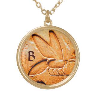 ANTIQUE EGYPTIAN HONEY BEE BEEKEEPER MONOGRAM ROUND PENDANT NECKLACE