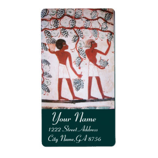 ANTIQUE EGYPTIAN VINEYARD WINE GRAPE HARVEST LABEL