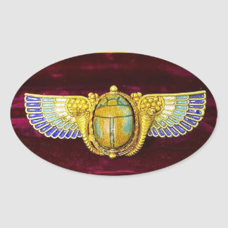 ANTIQUE EGYPTIAN WINGED SCARAB /CORNUCOPIA JEWEL OVAL STICKER