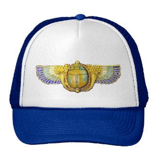 ANTIQUE EGYPTIAN WINGED SCARAB /CORNUCOPIA JEWEL TRUCKER HAT