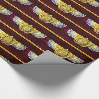ANTIQUE EGYPTIAN WINGED SCARAB /CORNUCOPIA JEWEL WRAPPING PAPER