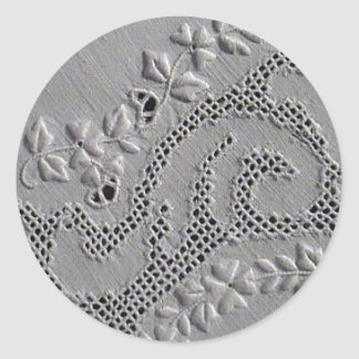 Antique Embroidered Flowers Round Stickers