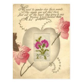 Antique Embroidered Valentine Card