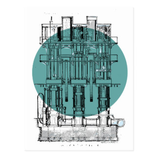 Antique Engine Diagram Postcard