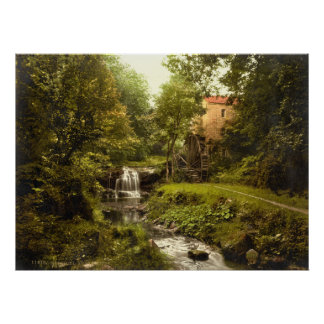 Antique England Water Mill, Whitby Yorkshire Poster
