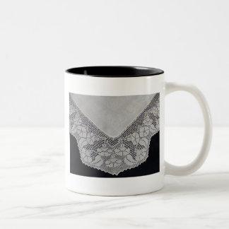 Antique English Filet Crochet Two-Tone Coffee Mug
