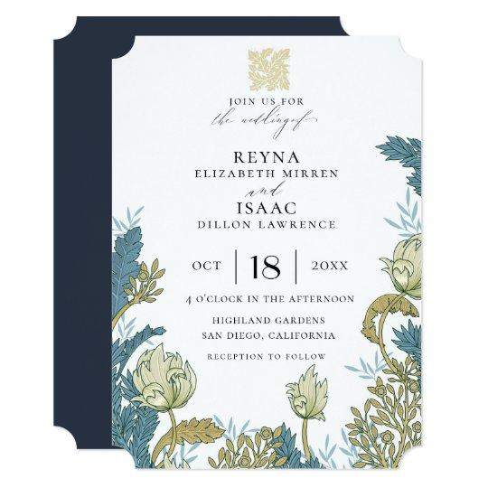 Antique English Floral Wedding Invitation