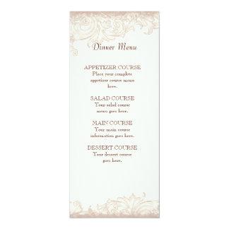 "Antique English Rose - Cream Menu Card 4"" X 9.25"" Invitation Card"