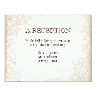 Antique English Rose Floral Swirl Wedding 4.25x5.5 Paper Invitation Card