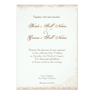 Antique English Rose Floral Swirl Wedding 5x7 Paper Invitation Card