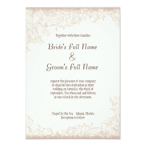 Antique English Rose Floral Swirl Wedding Card