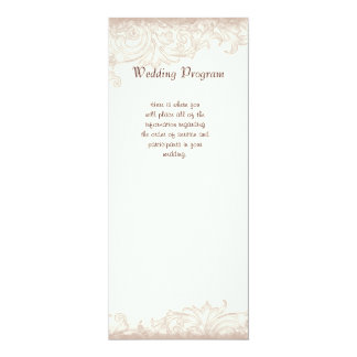 "Antique English Rose Floral Swirl Wedding 4"" X 9.25"" Invitation Card"