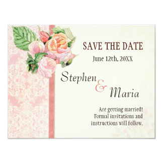 Antique English Rose - Pink Save the Date Cards