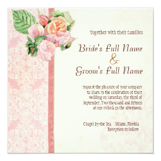 Antique English Rose - Pink Wedding Invitation