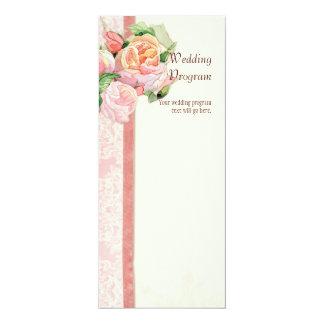 Antique English Rose - Pink Wedding Program Card