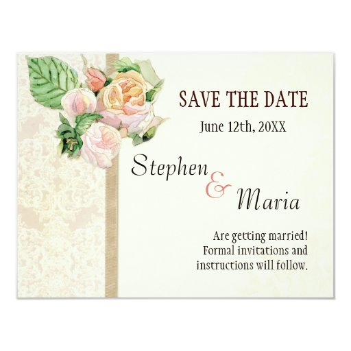 Antique English Rose - Tan Save the Date Cards