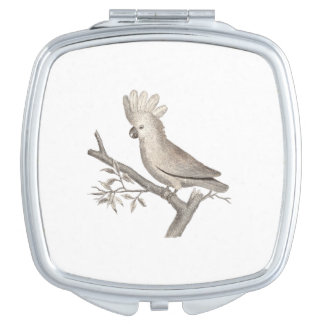 Antique Engraving of a Cockatoo Histoire Naturelle Makeup Mirror