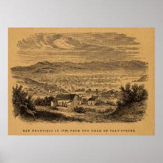 Antique engraving San Francisco Poster