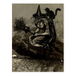 Antique Engraving Witch on Broom Postcard