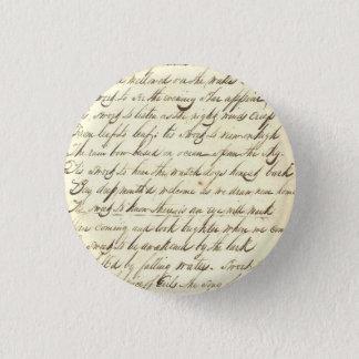 Antique Ephemera Cursive Calligraphy Script Sample Pinback Button
