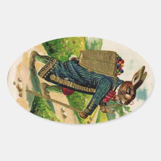 Antique Erudite Easter Rabbit Oval Sticker