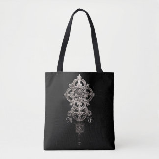 Antique Ethiopian Processional Cross with Monogram Tote Bag