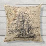 Antique Europe Map Ship Sail Nautical Marine Outdoor Pillow