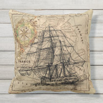 Antique Europe Map Ship Sail Nautical Marine Outdoor Pillow
