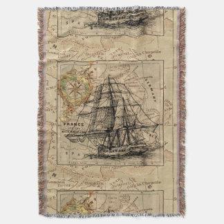 Antique Europe Map Ship Sail Nautical Marine Throw