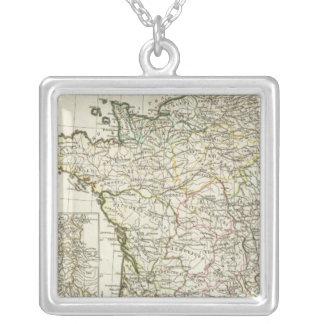 Antique European Map Square Pendant Necklace