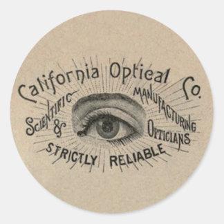 Antique eye advertising art classic round sticker
