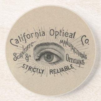 Antique eye advertising art drink coaster