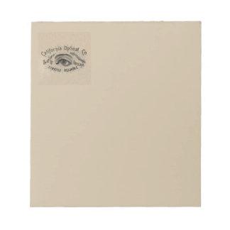 Antique eye advertising art notepad