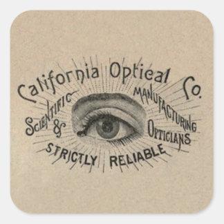 Antique eye advertising art square sticker