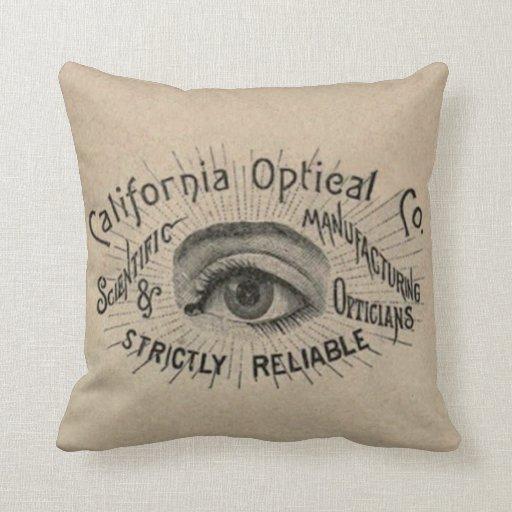 Antique eye advertising art throw pillow